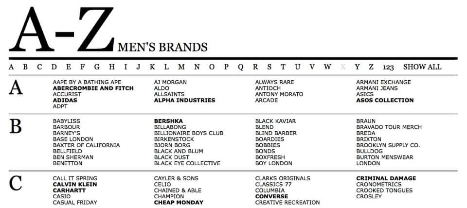 ASOS男性品牌列表