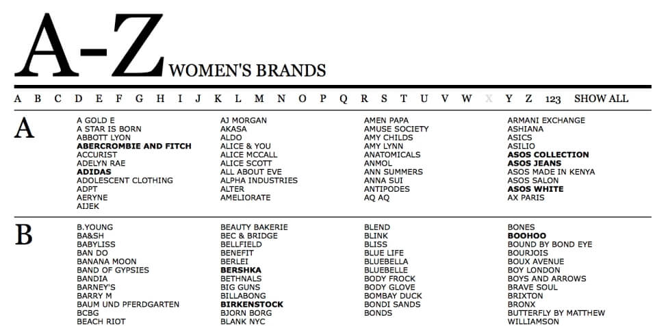 ASOS女性品牌列表