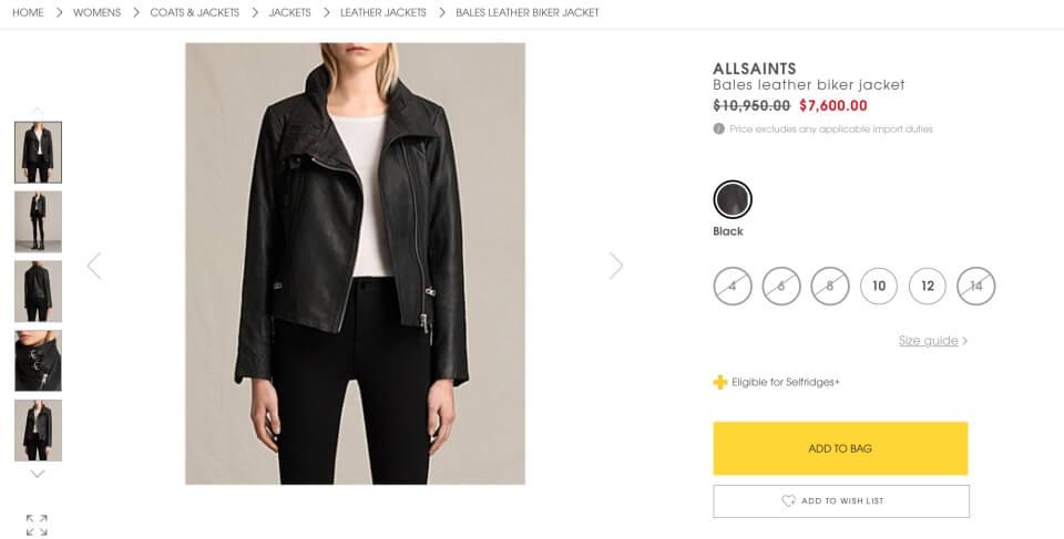 SELFRIDGES購物教學:網上選購商品