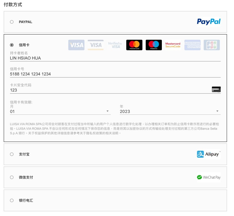 LUISAVIAROMA購物教學圖解-填寫信用卡等付款資料