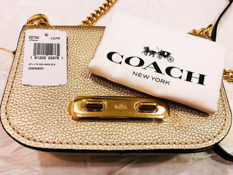 開箱COACH Swagger 20 Shoulder Bag包加防塵袋加吊牌