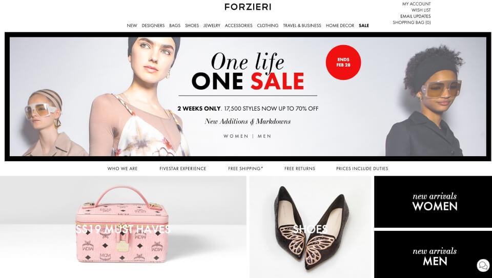 義大利FORZIERI時尚精品購物網站首頁
