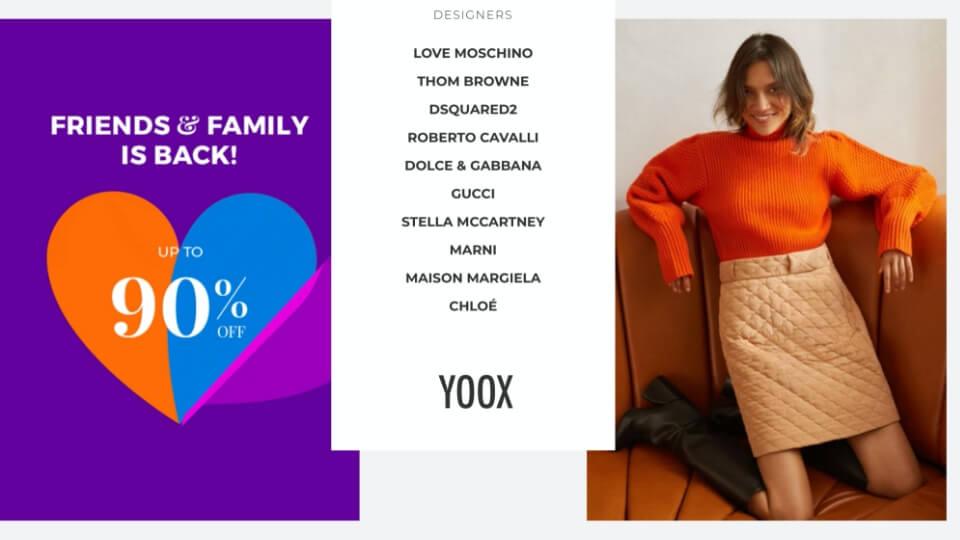 YOOX Friends & Family 折扣低至1折起