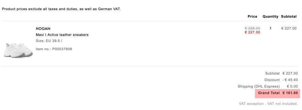 HOGAN Maxi I Active 運動鞋7折+額外8折,未稅價格 181.6歐元。